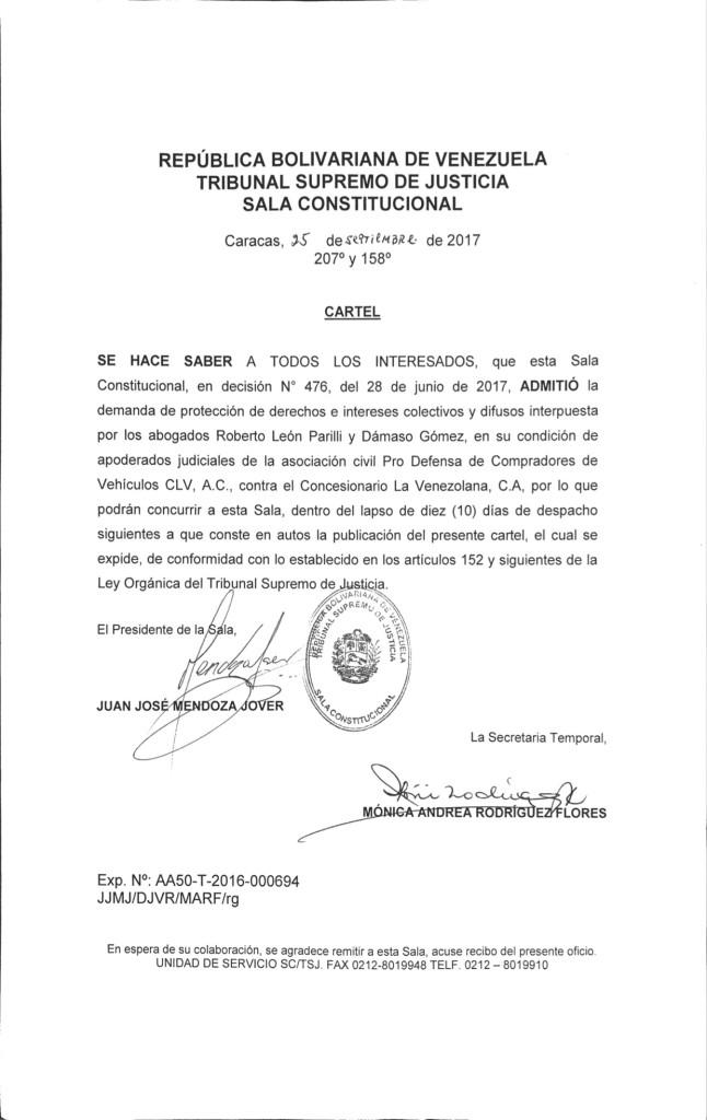 Cartel La Venezolana TSJ page 1